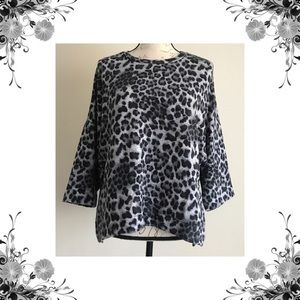 {H by Bordeaux} Animal Print Knit Pullover Top